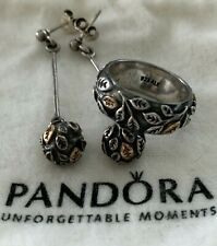 RETIRED PANDORA 14K SS TREE OF LIFE DANGLE EARRINGS 290146 & RING 190140 SZ 6.75
