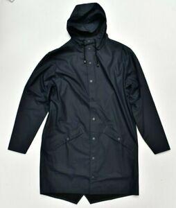New RAINS Long Jacket Coat Waterproof in Blue Size S/M