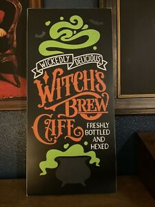 Witch's Brew Cafe Halloween Wood Sign