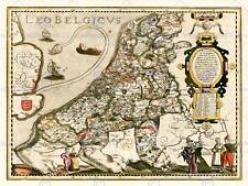 MAP ANTIQUE BELGIUM NORTH SEA LION LEO 30X40 CMS FINE ART PRINT POSTER BB8152