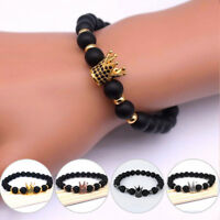 Natural Stone King Crown Fashion Bracelet Men Women Matte Stone Bead Bracelets