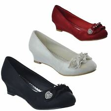 GIRLS KIDS LOW MID WEDGE HEEL SLIP ON COURT PARTY WEDDING SHOES SANDALS SIZE