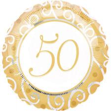 Folieballon Heliumballon Goldhochzeit goldene Zahl 50 ungefüllt Party Deko neu