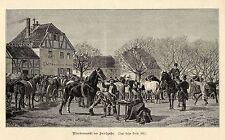 Pferdemarkt im Früjahr Künstlergraphik Holzstich um 1900