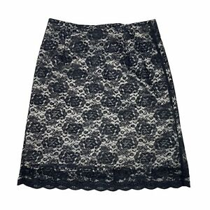 Ronni Nicole II VTG Back Zip Floral Lace A-Line Skirt Black Womens 14W