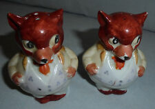 "Salt & Pepper Shakes, Red Fox in Tux, Japan, 3"" Tall 2.25"" Across Vintage"