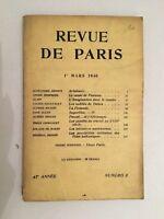 Revista De París 47è Año 1er Mars 1940 Numéro 5
