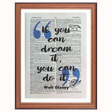 WALT DISNEY preventivo-se è possibile Dream-pagina di dizionario ART PRINT oggetto da collezione