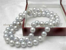 """8MM Gray Akoya Cultured Shell Pearl Necklace 18"""" AA"""