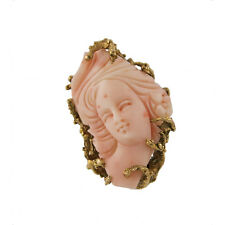 Vintage Chunky Large Coral Cameo 14K Gold Ring