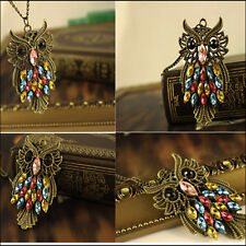 Personality Color Crystal Retro Owl Carved Pendant Hollow Chain Womens Necklace
