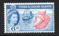 Turks & Caicos Islands 6d Stamp c1957 Mounted Mint (2653)