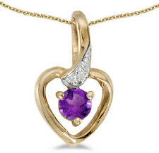 14k Yellow Gold Round Amethyst And Diamond Heart Pendant (Chain NOT included)