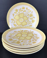 "Vintage Royal China Cavalier Dinner Plates 10"" (6) Yellow Flower Mid Century MCM"