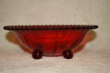 """Candlewick Ruby Red 400/74B 8 1/2"""" 4 Footed Bowl"""