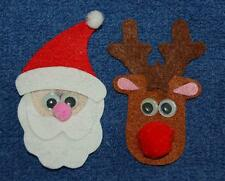 Small Santa and Reindeer, Felt Refrigerator Magnet Set of Two, Made in the USA