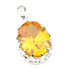 "Dazzling Oval Cut Fire Royal Citrine Silver Necklace Pendants 1"" Xmas Gift"