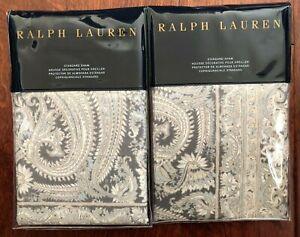 2x RALPH LAUREN Mariella STANDARD PILLOW SHAMS Paisley GREY Cotton PAIR $260 NWT