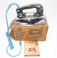 Vintage General Electric GE STEAM & DRY CLOTHES IRON Model F63 New Unused w/Box