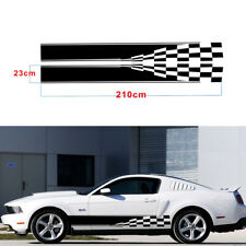 2Pcs Car Sports Racing Race Both Side Body Vinyl Black Long Stripe Decal Sticker