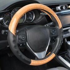 ACDelco Strong-Grip Premium Smooth PU Leather Steering Wheel Cover - Light Wood