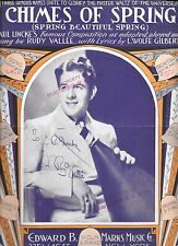 Rare!  Rudy Vallee Autographed Copy of Chimes of Spring Sheet Music