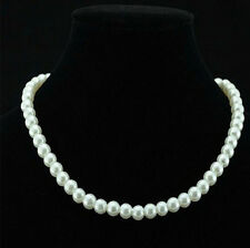 NUOVO Chic singolo Trefolo Finta 6mm perla Dichiarazione Collana a Bavaglino Gioielli Regali UK