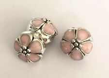 Pink Blossom Flower Clip Stopper Charm Bead For Bracelets Silver Plated 1pc