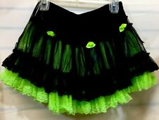 TRIPP NYC Hot Topic Plaid Mini Skirt Pleated Green with Black Lace Size Xsmall
