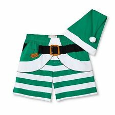 Mossimo Mens Striped Green Elf Boxers & Hat Set Christmas Boxer Shorts - Medium