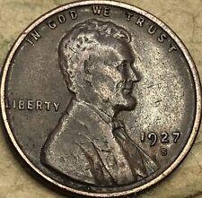 "1927 -S ""Good"" Lincoln Head Copper Penny. ""Good"" Condition Lincoln Wheat Cent."
