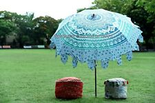 """Indian Ombre Mandala Garden Umbrella Cotton Patio Outdoor Sun Parasol Hippie 80"""""""