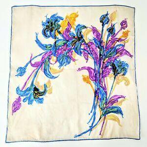 "Vintage Elegant Blue, Purple & Yellow Printed Silk Square Design Scarf 5.50"""