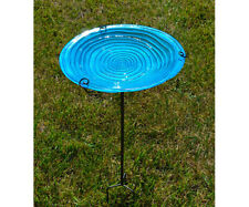 Bird Baths Blue Swirls Glass Staked Bird Bath Se5048