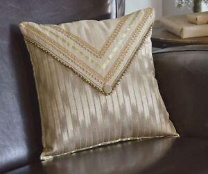"Glittering Gold Ribbon Lace Envelope Pillow Yarn Ball Trim Celebrate 16"" Square"