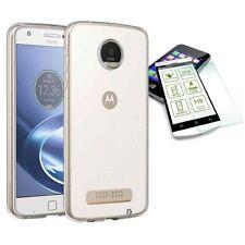 FUNDA DE SILICONA TRANSPARENTE + 0,3 H9 Cristal protector para Motorola Moto Z