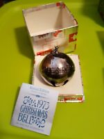 1973 3rd Wallace Silverplated Christmas Sleigh Bell Ornament Good Will To Men 3""