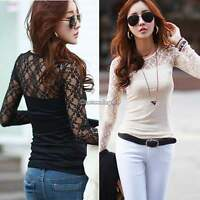 New Sexy Womens Lady Crew Neck Lace Floral T-shirt Long Sleeve Shirt Tops Blouse
