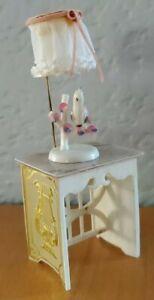 Vintage Ideal Petite Princess Lyre Table w/ Bird Lamp