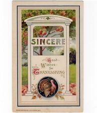 Thanksgiving Wishes 1913 Postcard by John Winsch Sincere Doorway With Turkey