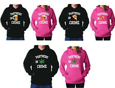 Hoodies Couple Partners in Crime Beer Weed Pizza Games Guns Sweatshirts Matching