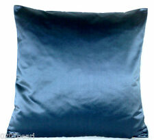 Blue Cushion Cover Plain Satin Silk Fabric Scatter Square 40x40cm