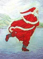 ANTIQUE SANTA SKATING Christmas Cross Stitch Kit