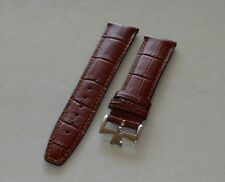 20mm Brown Genuine Leather Band Strap Alligator-Style for Constantin
