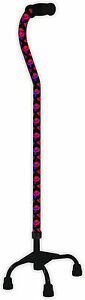Red Hat Society Small Base Quad Cane Walking Stick Offset Handle Mobility Aid