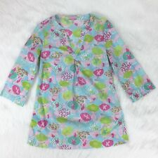 """Lilly Pulitzer Josie Tunic Top Size S Aqua Blue Pink Green 3/4 Sleeves 29"""" Long"""