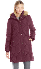 Tommy Hilfiger Women's Diamond Quilted Down Coat with Faux Fur Trim Hood Violet