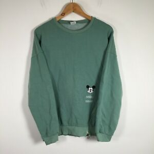Disney Mickey Mouse Mens jumper size XL green long sleeve round neck cotton