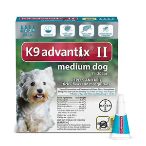 K9 Advantix II Medium Dog Dogs 11-20 lbs 4 Month Control Fleas Ticks Mosquitoes