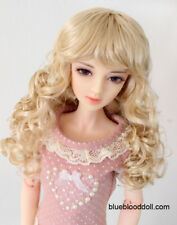 "1/4 bjd 6-7"" doll head blonde curly long wig dollfie yosd Luts Iplehouse JD311"